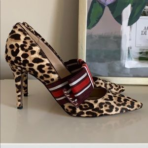 Sam Edelman Leopard Hair Heels with Bow Sz 9
